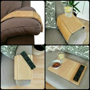 details about wooden armrest sofa tray table couch media organizer flexible snack drink holder