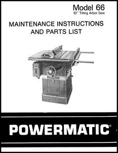Powermatic Table Saw Model 66 Manual