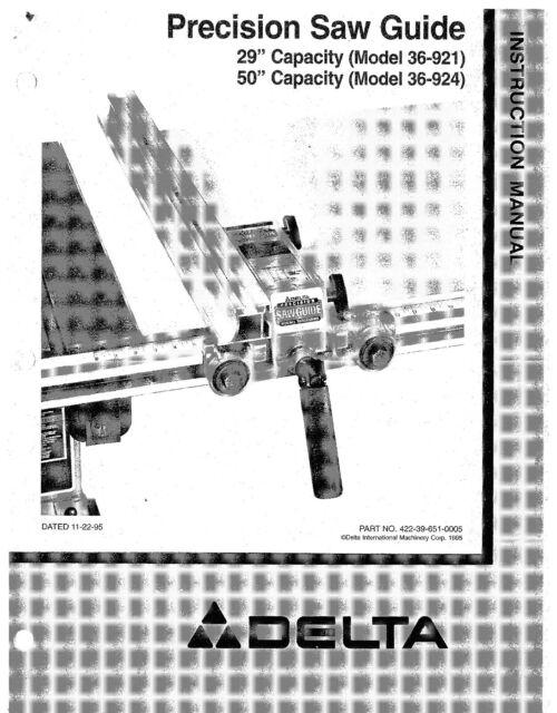 Delta Precision Saw Guide 36-921 36-924 Instruction Manual