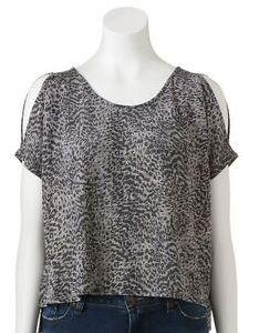 Image is loading jennifer lopez cheetah animal crop top gray nwt also women   size   rh ebay