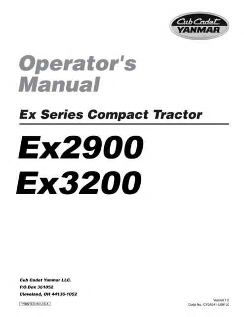 Cub Cadet Yanmar Service Manual Model Ex2900 & Ex3200 for