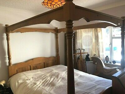 vintage four poster bed reclaimed timber king size english ebay