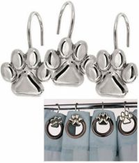 New SET 12 DOG CAT PAW PRINT SILVER SHOWER CURTAIN HOOKS