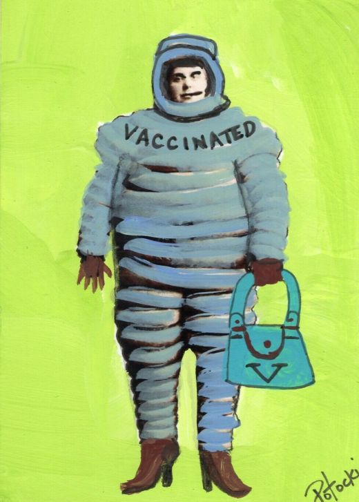 Image 1 - ACEO Original Painting 2nd Pandemic Date Art by Outsider Artist 3amgallery