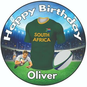 Personalised Birthday Cake Topper 8 Icing Decoration Rugby Shirt