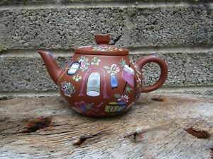 Antique Chinese porcelain teapot -Signed - enamelled Yixing pot - quality - Qing