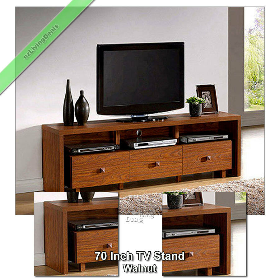70 Inch TV Stand Entertainment Media Console Table Stands for Flat Screen Walnut