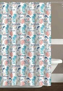 details about blue turquoise coral white fabric shower curtain tropical ocean theme dolphins