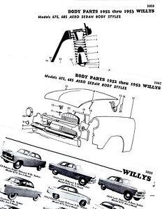 1952 1953 WILLYS AERO 675 685 LARK ACE WING FALCON BODY