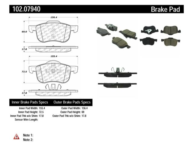 Disc Brake Pad Set fits 1999-2009 Volvo S60 S60,V70 S80 C