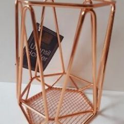 Copper Kitchen Utensil Holder Industrial Tables New Rose Gold Geometric Wire Storage Image Is Loading