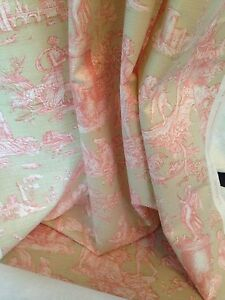 Natural Pink Toile De Jouy Linen Weave Ready Made Curtains 90&#034