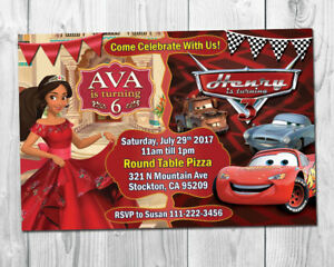 details about elena of avalor cars double birthday party invite sibling invite twins