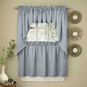 swag kitchen curtains light blue opaque solid ribcord choice of tier image is loading