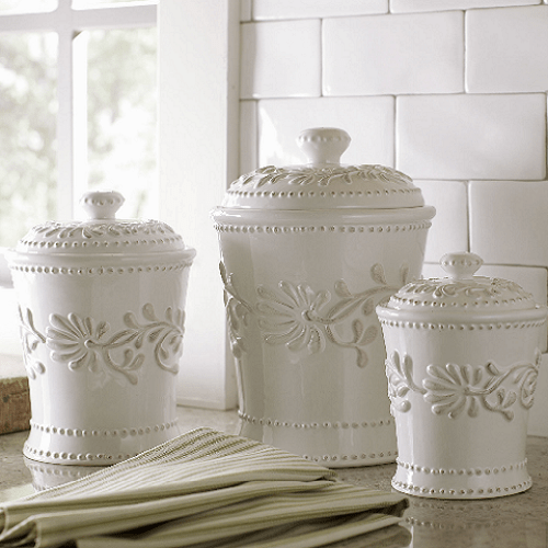 kitchen canister table and bench ceramic set white ivory counter coffee sugar flour canisters 3