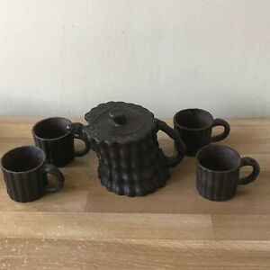 Lovely Chinese Signed Yixing Teapot + 4 Cups Bamboo Shape Design