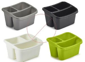 kitchen caddy drawers for cabinets plastic sink side storage organiser 3 compartment cutlery holder image is loading