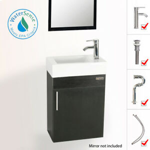 details about 19 eclife small floating bathroom vanity w ceramic sink faucet drain combo