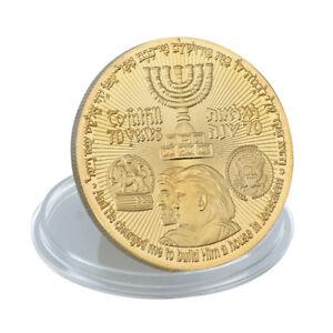 King Cyrus Donald Trump Coin Gold Plated Jewish Temple Jerusalem Israel /bw   eBay