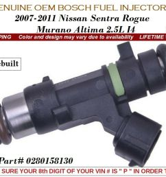 years vary bosch fuel injectors 4x for 2007 14 nissan rogue altima sentra 2 5l air  [ 1058 x 794 Pixel ]
