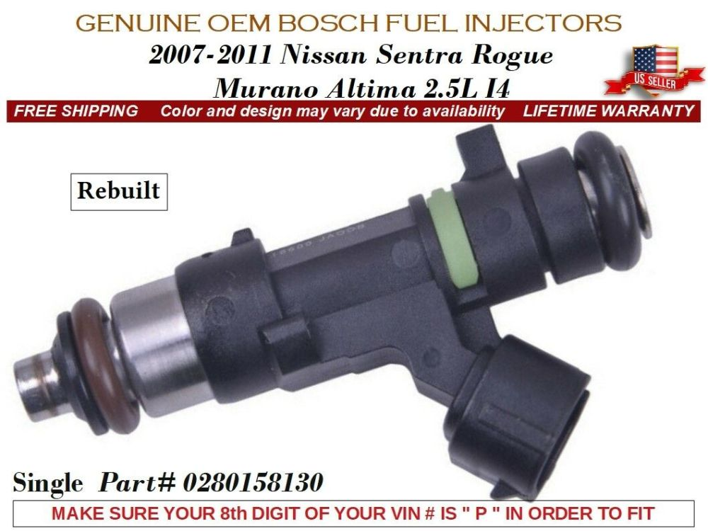 medium resolution of years vary bosch fuel injectors 4x for 2007 14 nissan rogue altima sentra 2 5l air