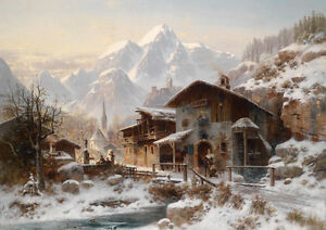 large oil painting town