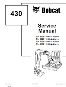 Bobcat 430 Compact Excavator Service Manual Shop Repair