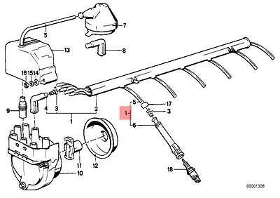 Genuine BMW E23 E24 E28 Coupe Ignition Spark Plug Wire