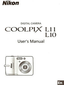 NIKON COOLPIX L10 & L11 DIGITAL CAMERA OWNERS INSTRUCTION