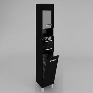 Armoire Haute Avec Panier A Linge Sw4 30 Salle De Bain Noir Brillance Ou Mat Ebay