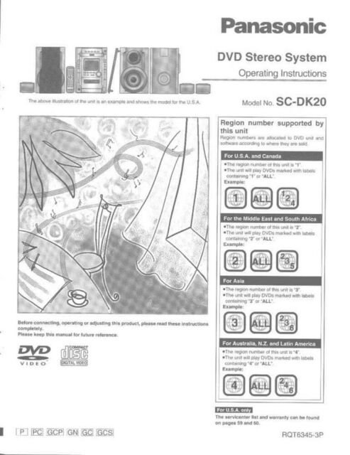 Panasonic SA-DK20 Stereo System Owners Instruction Manual