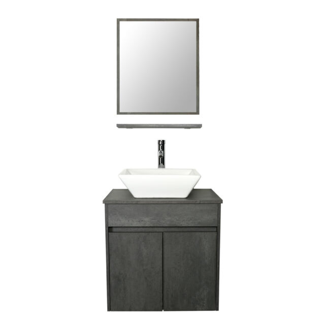 24 Wall Mounted Bathroom Vanity Ceramic Square Sink Combo Concrete Grey Set For Sale Online