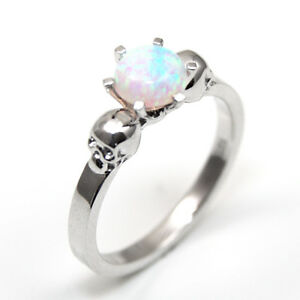 Skull Ring Solid Silver 1ct Unicorn Tear Opal Engagement