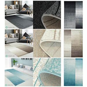 Teppich Modern Designer Wohnzimmer Inspiration Sway Karo Grau Beige Blau NEU  eBay