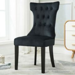 Tall Back Dining Chairs Zeus Gaming Chair Zef Jam Set Of 2 Elegant Design Black Velvet W