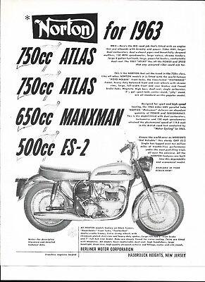 Norton 1963 750 Atlas. 650 Manxman 500cc ES-2 , Electra
