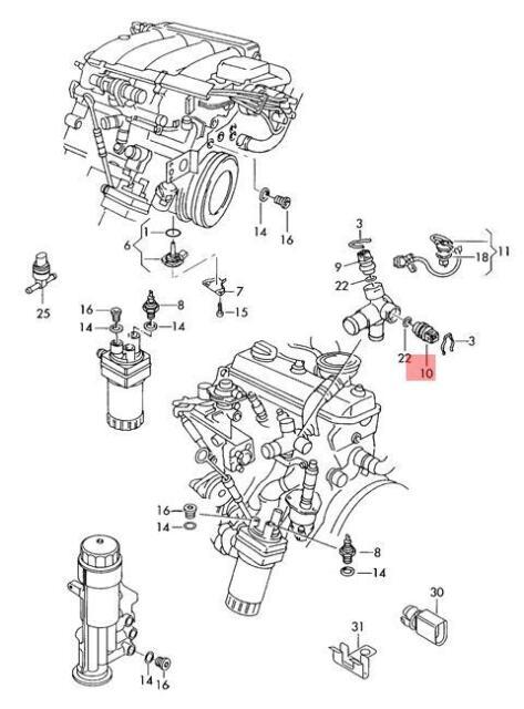 Genuine Coolant Temperature Sensor 2 Pin AUDI VW A3