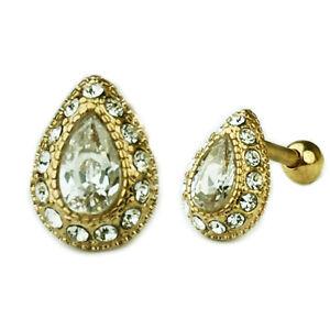 Gold Ornament Tropfen glitzer Ohr Helix Tragus Piercing Schmuck mit Kristallen