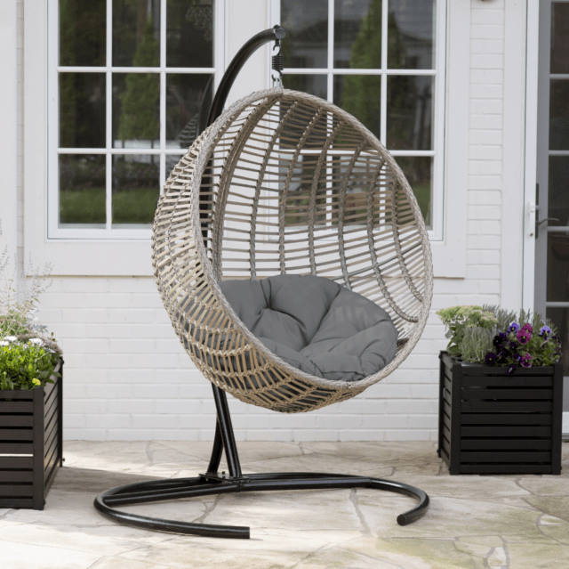 swing chair seat ergonomic head support outdoor hanging wicker resin deck porch canopy cushion egg swinging hammock stand large