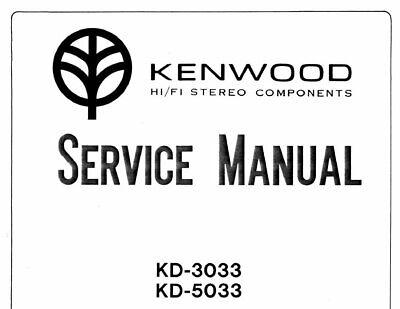 KENWOOD KD-3033 KD-5033 SERVICE MANUAL BOOK ENGLISH