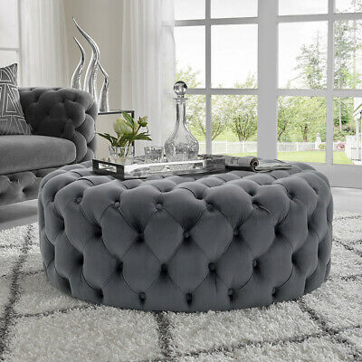 luxury grey buttoned ottomans square round plush velvet coffee tables footstools ebay