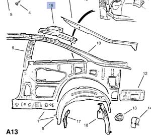 Rear Panel Upper Left Reinforcement fits Opel Vauxhall
