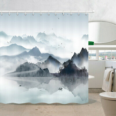 chinese ink painting landscape shower curtain for bathroom waterproof fabric ebay