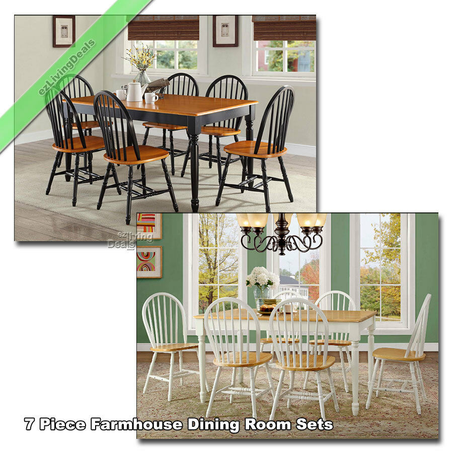 Country Dining Room Chairs 7 Piece Dining Set Farmhouse Wood Table Chairs Country Room Kitchen Black White Ebay
