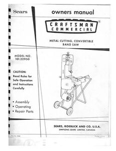 c.1970s Craftsman 101.22950 Commercial Metal Cutting