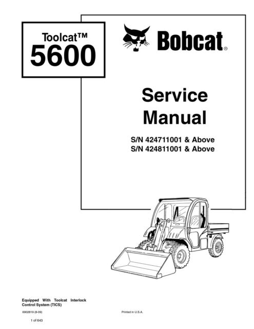 Bobcat Toolcat 5600 Utility Vehicle Repair Service Manual