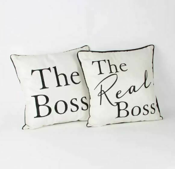 2 CUSHIONS - THE BOSS AND THE REAL BOSS