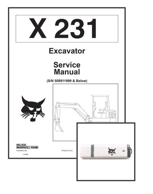 Bobcat X231 Compact Excavator Service Manual Shop Repair
