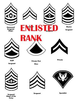 Rank Decal Vinyl indoor/outdoor private,corporal,sergeant