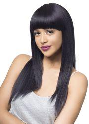black long straight neat bang hair